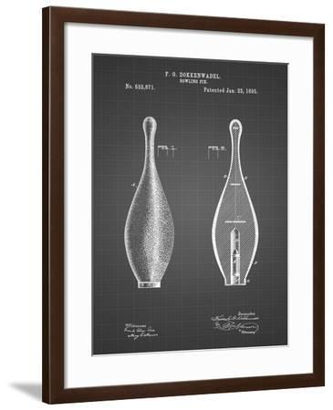 PP652-Black Grid Vintage Bowling Pin Patent Poster-Cole Borders-Framed Giclee Print