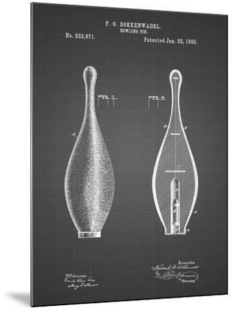 PP652-Black Grid Vintage Bowling Pin Patent Poster-Cole Borders-Mounted Giclee Print