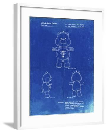 PP676-Faded Blueprint Champ Care Bear Poster-Cole Borders-Framed Giclee Print