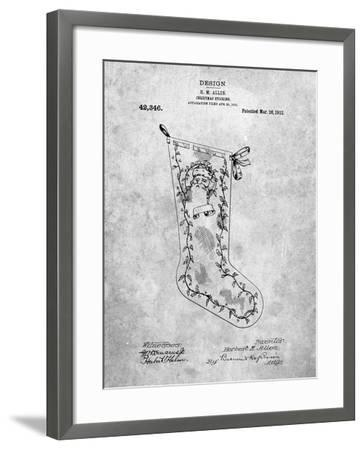 PP764-Slate Christmas Stocking 1912 Patent Poster-Cole Borders-Framed Giclee Print