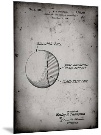 PP736-Faded Grey Billiard Ball Patent Poster-Cole Borders-Mounted Giclee Print