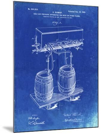 PP729-Faded Blueprint Beer Keg Cold Air Pressure Tap Poster-Cole Borders-Mounted Giclee Print