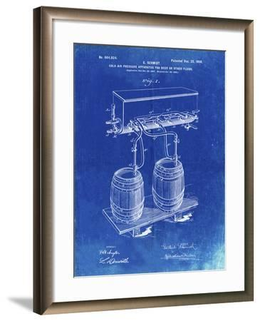 PP729-Faded Blueprint Beer Keg Cold Air Pressure Tap Poster-Cole Borders-Framed Giclee Print