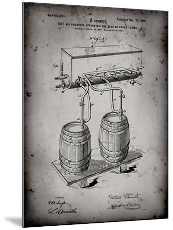 PP729-Faded Grey Beer Keg Cold Air Pressure Tap Poster-Cole Borders-Mounted Giclee Print