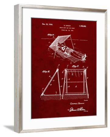 PP723-Burgundy Beach shade 1929 Patent Wall Art Poster-Cole Borders-Framed Giclee Print