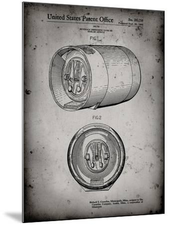 PP730-Faded Grey Beer Keg Patent Poster-Cole Borders-Mounted Giclee Print
