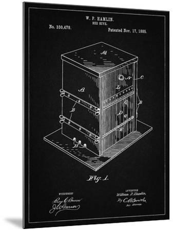 PP724-Vintage Black Bee Hive Exterior Patent Poster-Cole Borders-Mounted Giclee Print