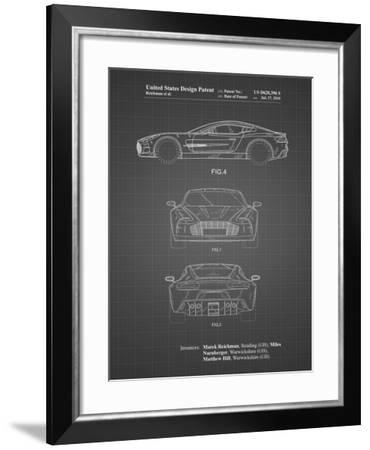 PP711-Black Grid Aston Martin One-77 Patent Poster-Cole Borders-Framed Giclee Print