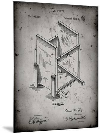 PP725-Faded Grey Bee Hive Frames Patent Poster-Cole Borders-Mounted Giclee Print