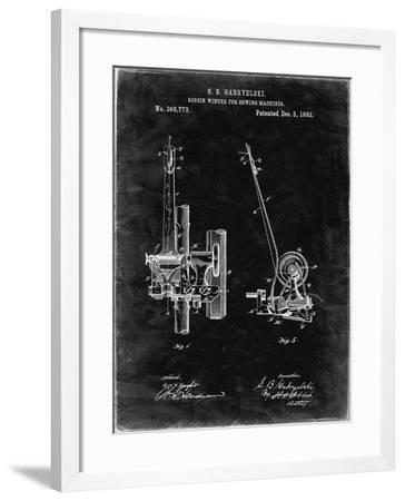 PP747-Black Grunge Bobbin Winder for Sewing Machines Poster-Cole Borders-Framed Giclee Print