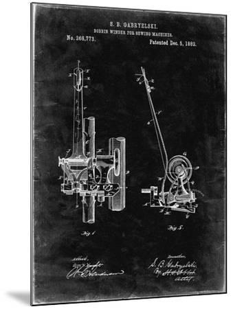 PP747-Black Grunge Bobbin Winder for Sewing Machines Poster-Cole Borders-Mounted Giclee Print