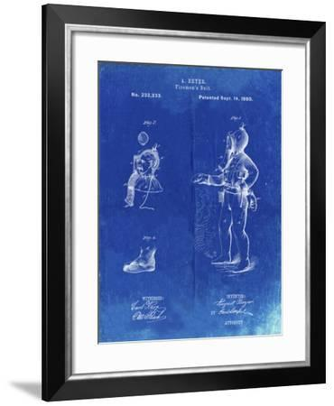 PP811-Faded Blueprint Firefighter Suit 1880 Patent Poster-Cole Borders-Framed Giclee Print