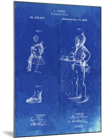 PP811-Faded Blueprint Firefighter Suit 1880 Patent Poster-Cole Borders-Mounted Giclee Print