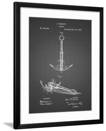 PP821-Black Grid Folding Grapnel Anchor Patent Poster-Cole Borders-Framed Giclee Print