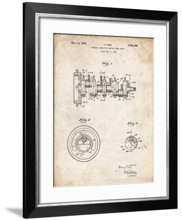PP771-Vintage Parchment Combustion Engine Crank Shaft 1933 Poster-Cole Borders-Framed Giclee Print