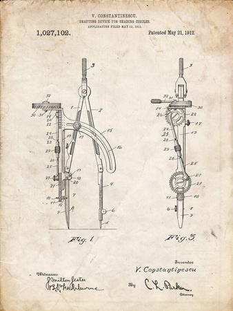 PP785-Vintage Parchment Drafting Compass 1912 Patent Poster-Cole Borders-Framed Giclee Print
