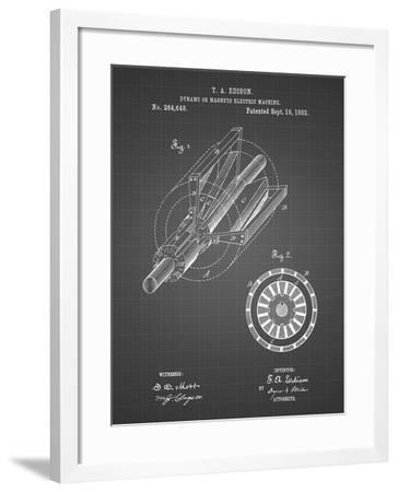 PP793-Black Grid Edison Dynamo Electrical Generator Patent Print-Cole Borders-Framed Giclee Print
