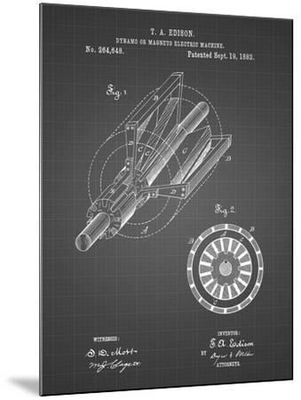PP793-Black Grid Edison Dynamo Electrical Generator Patent Print-Cole Borders-Mounted Giclee Print