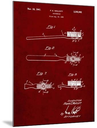 PP815-Burgundy First Toothbrush Patent Poster-Cole Borders-Mounted Giclee Print