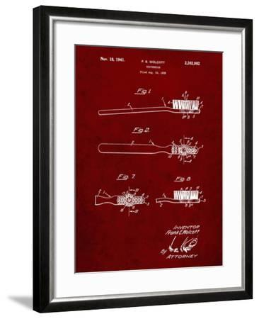 PP815-Burgundy First Toothbrush Patent Poster-Cole Borders-Framed Giclee Print