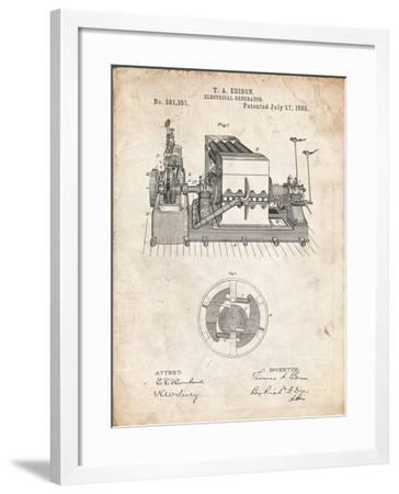 PP794-Vintage Parchment Edison Electrical Generator Patent Art-Cole Borders-Framed Giclee Print
