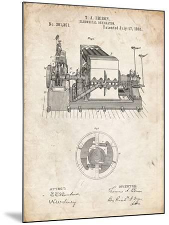 PP794-Vintage Parchment Edison Electrical Generator Patent Art-Cole Borders-Mounted Giclee Print