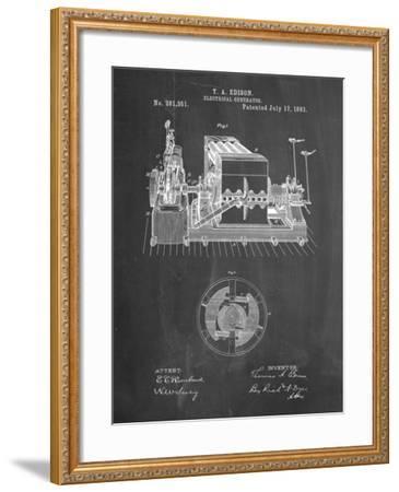PP794-Chalkboard Edison Electrical Generator Patent Art-Cole Borders-Framed Giclee Print