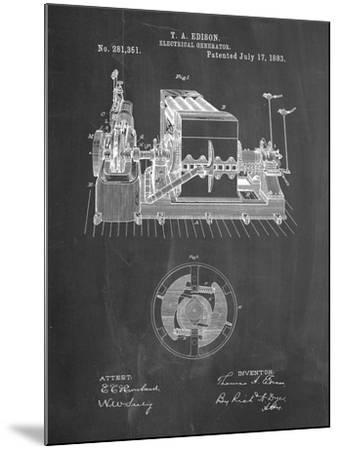 PP794-Chalkboard Edison Electrical Generator Patent Art-Cole Borders-Mounted Giclee Print