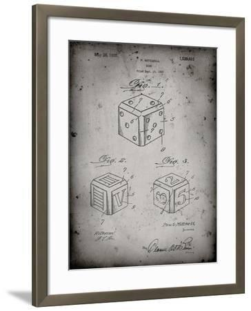 PP781-Faded Grey Dice 1923 Patent Poster-Cole Borders-Framed Giclee Print