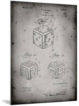PP781-Faded Grey Dice 1923 Patent Poster-Cole Borders-Mounted Giclee Print