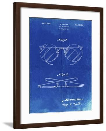 PP803-Faded Blueprint Eyeglasses Spectacles Patent Art-Cole Borders-Framed Giclee Print
