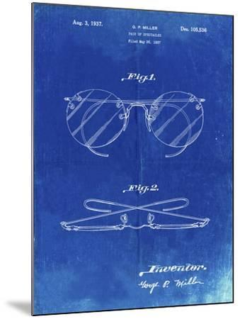 PP803-Faded Blueprint Eyeglasses Spectacles Patent Art-Cole Borders-Mounted Giclee Print