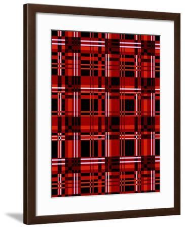 Minimalist Red Plaid Design 06-LightBoxJournal-Framed Giclee Print