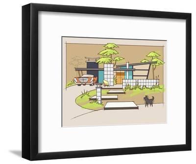 Mid-Century House #1 Chrysler Black Dog-Larry Hunter-Framed Giclee Print
