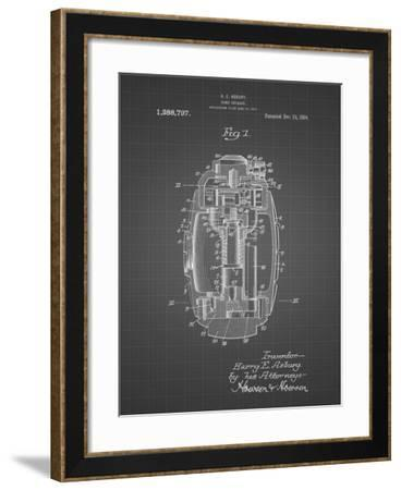 PP868-Black Grid Hand Grenade World War 1 Patent Poster-Cole Borders-Framed Giclee Print