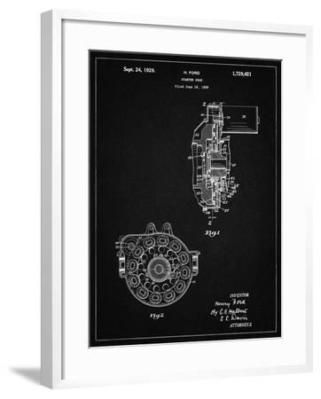 PP833-Vintage Black Ford Car Starter Gear 1928 Patent Poster-Cole Borders-Framed Giclee Print
