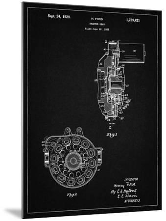 PP833-Vintage Black Ford Car Starter Gear 1928 Patent Poster-Cole Borders-Mounted Giclee Print