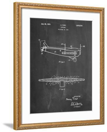 """PP849-Chalkboard Ford Tri-Motor Airplane """"The Tin Goose"""" Patent Poster-Cole Borders-Framed Giclee Print"""