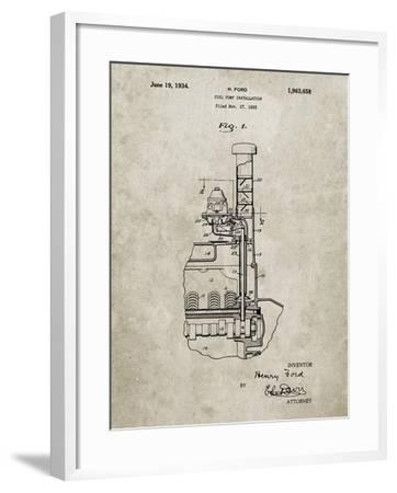 PP842-Sandstone Ford Fuel Pump 1933 Patent Poster-Cole Borders-Framed Giclee Print