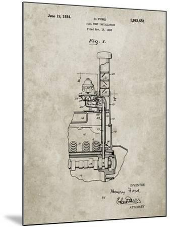 PP842-Sandstone Ford Fuel Pump 1933 Patent Poster-Cole Borders-Mounted Giclee Print