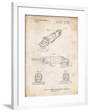 PP863-Vintage Parchment Grinder Poster, Grinder Patent-Cole Borders-Framed Giclee Print