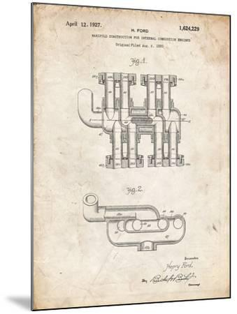 PP832-Vintage Parchment Ford Car Manifold 1920 Patent Poster-Cole Borders-Mounted Giclee Print