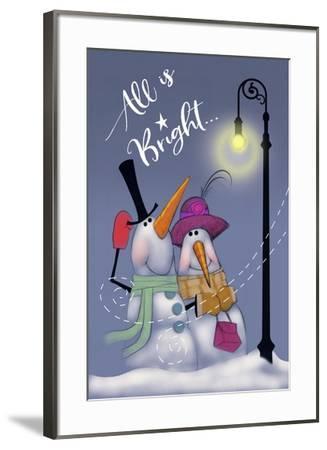 Snow Couple In Streetlight-Margaret Wilson-Framed Giclee Print