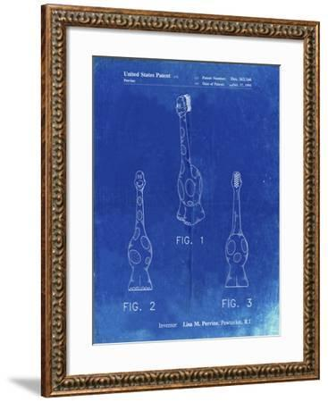 PP910-Faded Blueprint Kids Toothbrush Poster-Cole Borders-Framed Giclee Print