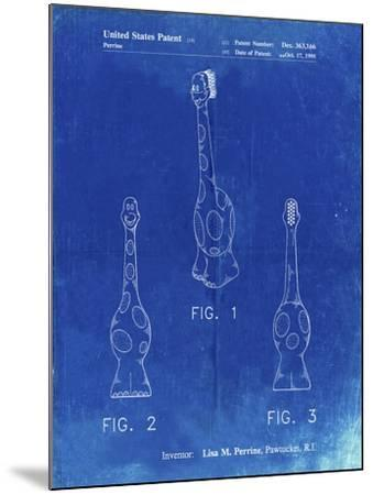 PP910-Faded Blueprint Kids Toothbrush Poster-Cole Borders-Mounted Giclee Print