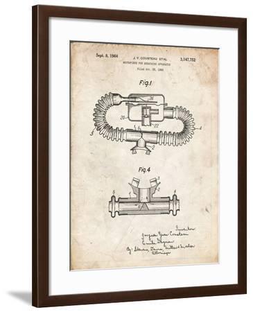 PP896-Vintage Parchment Jacques Cousteau Diving Mouthpiece Patent Poster-Cole Borders-Framed Giclee Print