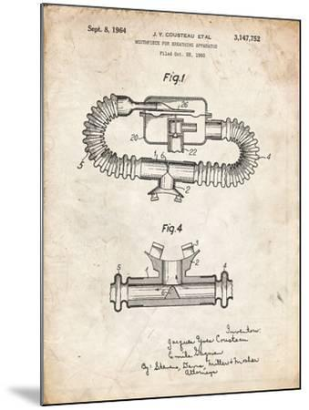PP896-Vintage Parchment Jacques Cousteau Diving Mouthpiece Patent Poster-Cole Borders-Mounted Giclee Print