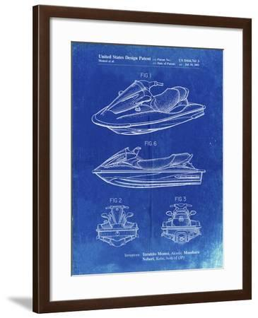 PP903-Faded Blueprint Kawasaki Water Scooter Patent-Cole Borders-Framed Giclee Print