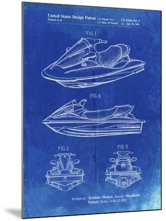 PP903-Faded Blueprint Kawasaki Water Scooter Patent-Cole Borders-Mounted Giclee Print