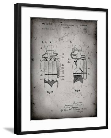 PP897-Faded Grey Jacques Cousteau Diving Suit Patent Poster-Cole Borders-Framed Giclee Print